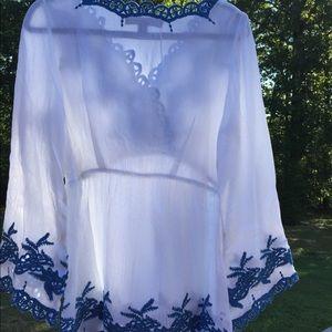 Roaman's Tops - new Denim 24/7 embroidered boho Tunic white & blue